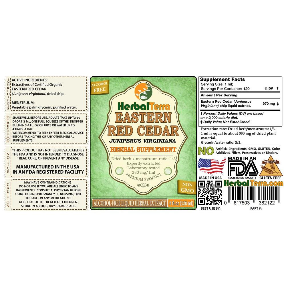 Red Cedar (Juniperus virginiana) Tincture, Dried Chips Liquid Extract