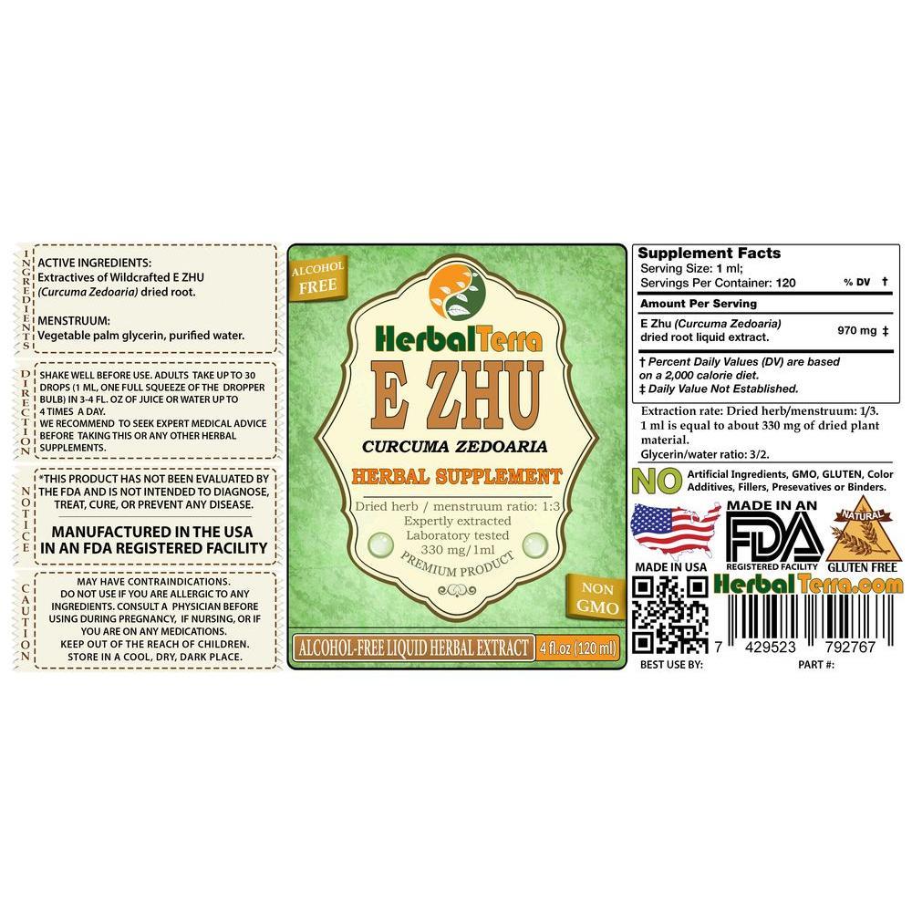 E Zhu, Zedoary (Curcuma Zedoaria) Tincture, Dried Root Powder Liquid Extract