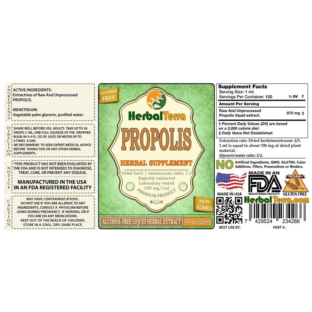 Propolis Tincture, Raw and Unprocessed Liquid Extract