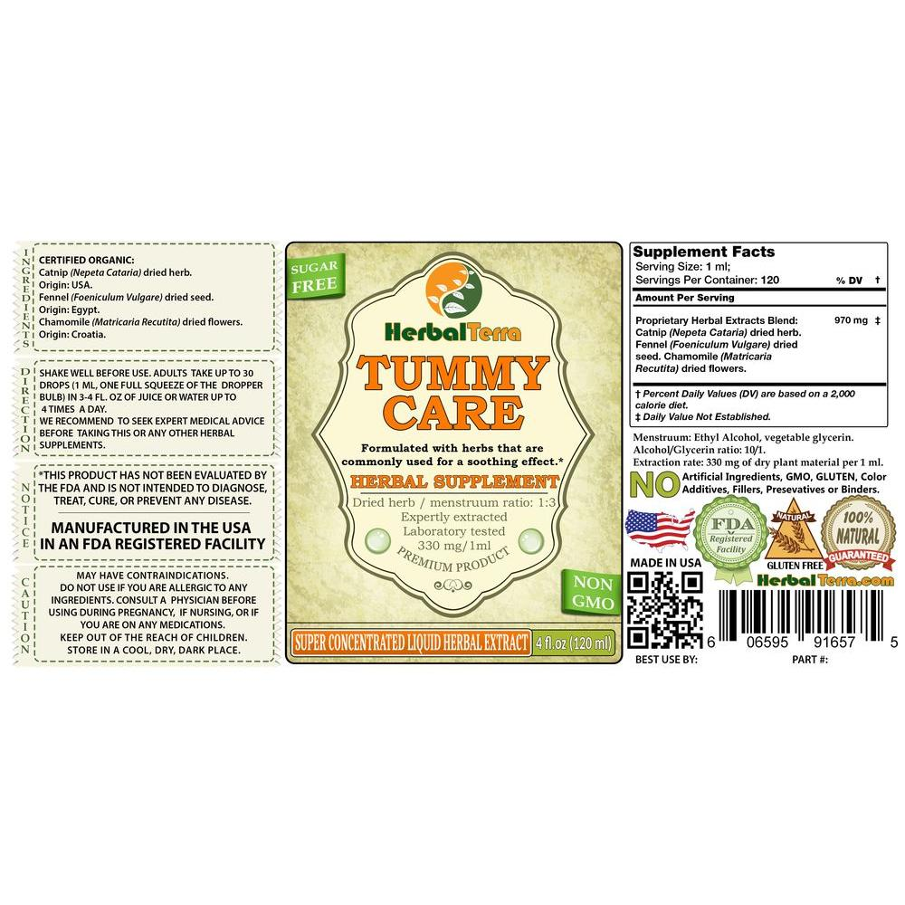 Tummy Support Herbal Formula, Certified Organic or Wild Harvested Catnip,  Fennel, Chamomile Liquid Extract
