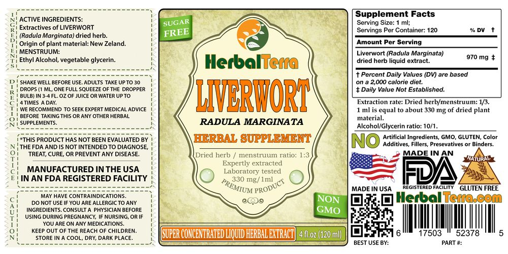 Liverwort (Radula Marginata) Dried herb Liquid Extract