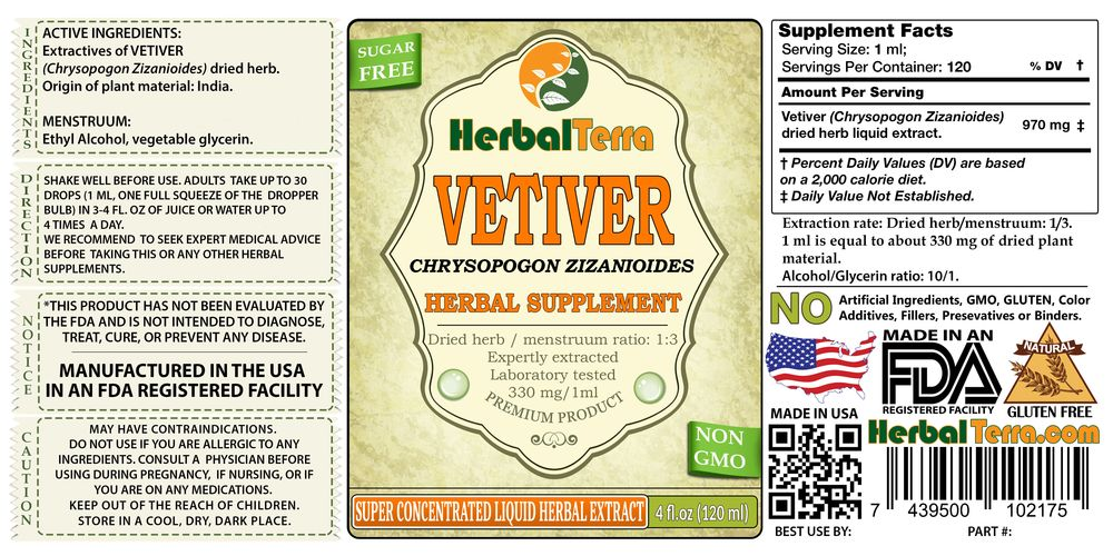 Vetiver (Chrysopogon Zizanioides) Dried Herb Liquid Extract