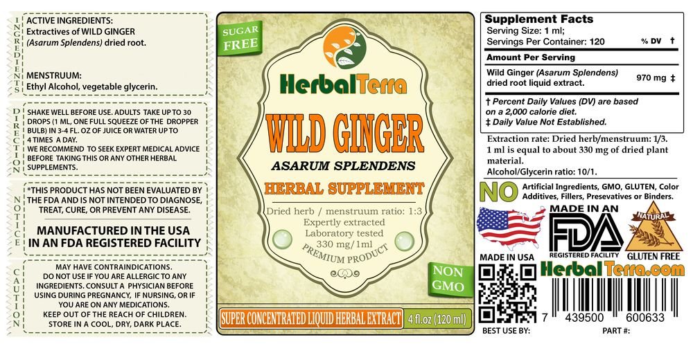 Wild Ginger, Hu Po (Asarum Splendens) Dried Root Liquid Extract